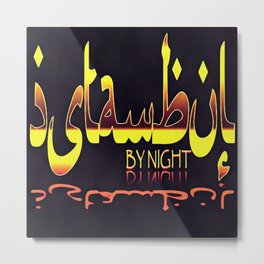 Istanbul By Night Skyline Cityscape Typography Metal Print