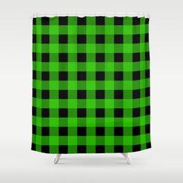 Grass Green and Black Buffalo Check Shower Curtain