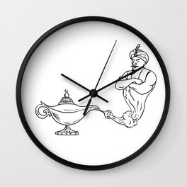 Genie Coming Out of Oil Lamp Black and White Drawing Wall Clock