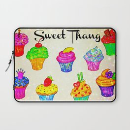 SWEET THANG - Cupcakes Sweet Sugary Goodness, Yummy Treat Romantic Colorful Bakery Illustration Laptop Sleeve