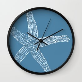 Starfish-white on blue Wall Clock