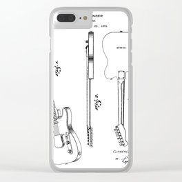 Electric Guitar Patent - Guitar Player Art - Black And White Clear iPhone Case