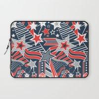 patriotic Laptop Sleeves featuring Patriotic Pattern by Aron Gelineau