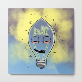 Lit Bulb Metal Print