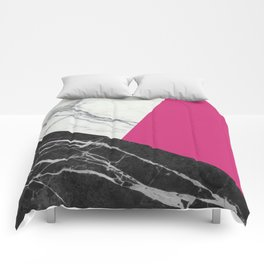 Black and white marble with pantone pink yarrow Comforters