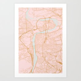 Prague map Art Print