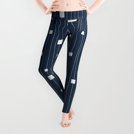 Squares and Vertical Stripes - Blue and White - Hanging Leggings