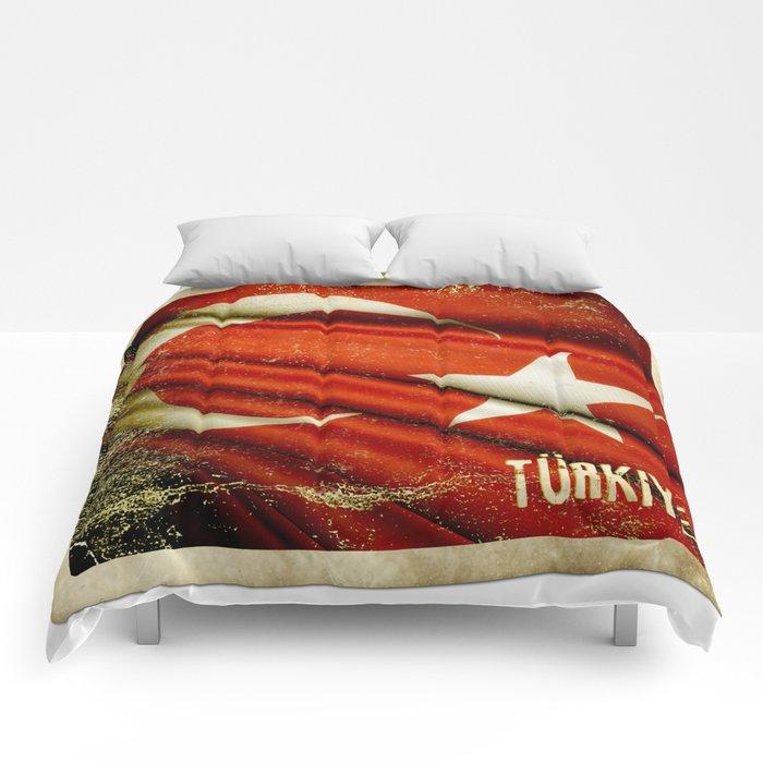 Grunge sticker of Turkey flag Comforters