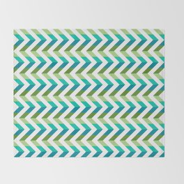 Chevron Picnic Time - Geometric pattern with blue and green Throw Blanket