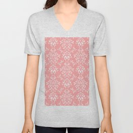 White And Coral Vintage Damask Pattern - Mix & Match with Simplicity of Life Unisex V-Neck