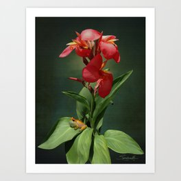 Canna Lily and Hourglass Tree Frog Art Print