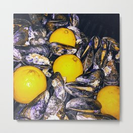 Grilled Maine Mussels Metal Print