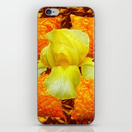 YELLOW GERMAN BEARDED IRIS FLOWER ON GOLD ART iPhone Skin