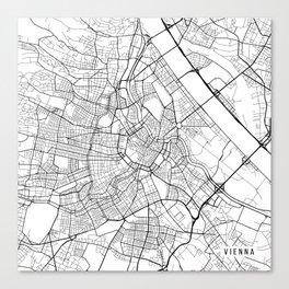 Vienna Map, Austria - Black and White  Canvas Print