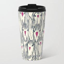 unicorn love indigo pink pearl Travel Mug