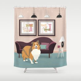 A Happy Home Has A Sheltie - Shetland Sheepdog In A Midcentury Interior Shower Curtain