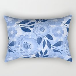Blue, light blue floral pattern. Rectangular Pillow