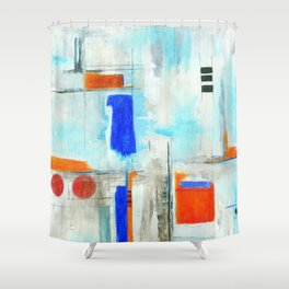 Nautical Intentions, Abstract Art Painting Shower Curtain