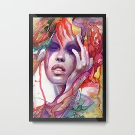 Migraine Watercolor Girl Metal Print