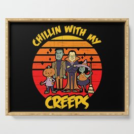 Chillin With My Creeps Vampire Halloween Witch Serving Tray