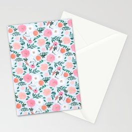 Cute Pink & White floral Paint Light blue design  Stationery Cards