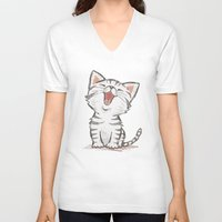 cat coquillette V-neck T-shirts featuring Cat by Toru Sanogawa
