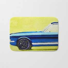 Vintage Ford Mustang in watercolor Bath Mat