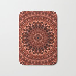 Brown and red tones mandala Bath Mat