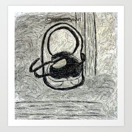 egg in a shoe in charcoal and graphite  Art Print