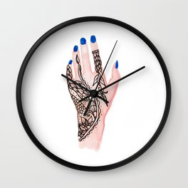 Modern watercolor hand  floral henna tattoo blue nails Wall Clock