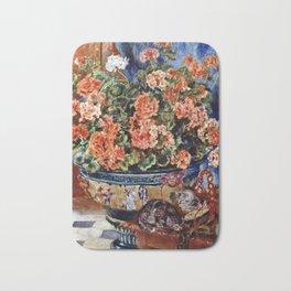 Auguste Renoir - Geraniums And Cats Bath Mat
