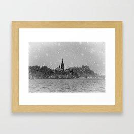 Snowy Bled Island Mono Framed Art Print
