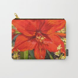 Lone Beauty — Red Daylily Blossom by L Diane Johnson Carry-All Pouch