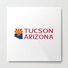 Arizona: Tucson (State Shape & Flag) Metal Print