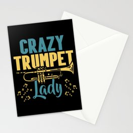Crazy Trumpet Lady Musician Musical Instrument Stationery Cards