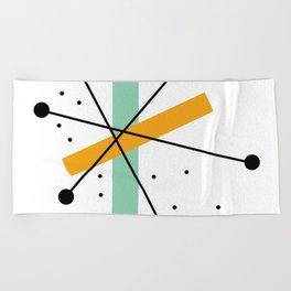 Retro Minimalist Mid Century Modern Pattern Design Beach Towel