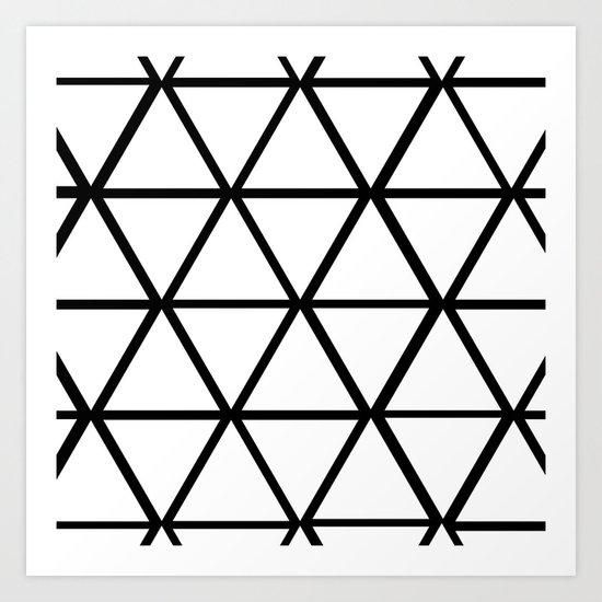 WHITE & BLACK TRIANGLES  Art Print