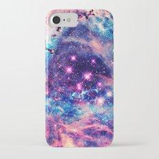 Trendy Pastel Pink Blue Nebula Girly Stars Galaxy iPhone 7 Slim Case