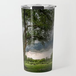 Big Tree - Tall Cottonwood and Passing Storm in Texas Travel Mug