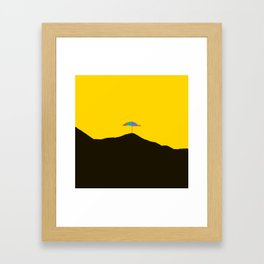 Colorful Umbrella On A Black Mountain In A Yellow Background - #society6 #buyart Framed Art Print