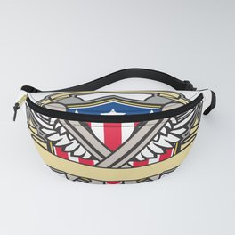 Crossed Wrench Army Wings American Flag Shield Fanny Pack
