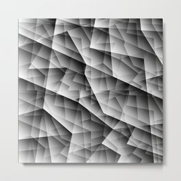 Monochrome pattern of chaotic black and white glass fragments, irregular cubic figures and ice floes Metal Print