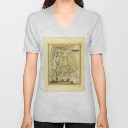 Map of Alabama (1826) Unisex V-Neck