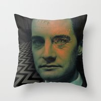 dale cooper Throw Pillows featuring Special Agent Dale Cooper by András Récze