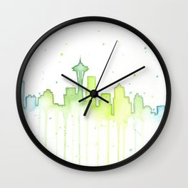 Seattle Skyline Watercolor Space Needle Painting Wall Clock