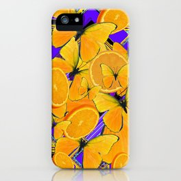 ORANGE SLICES YELLOW BUTTERFLY PURPLE ART iPhone Case