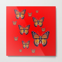RED ART MONARCH BUTTERFLIES Metal Print