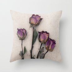 four dried roses Throw Pillow