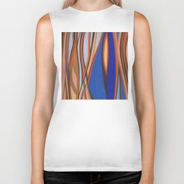 Retro Blues Browns Oranges Line Design with Pastels by annmariescreations Biker Tank