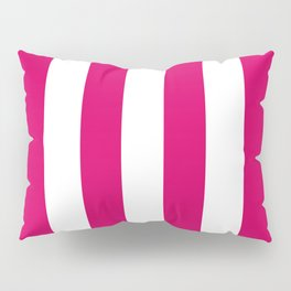 Bright Pink Peacock and White Wide Vertical Cabana Tent Stripe Pillow Sham